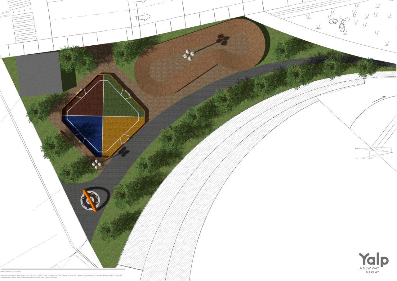 Design Yalp Toro - multipurpose sports field and Yalp Sona - interactive dance and play arch